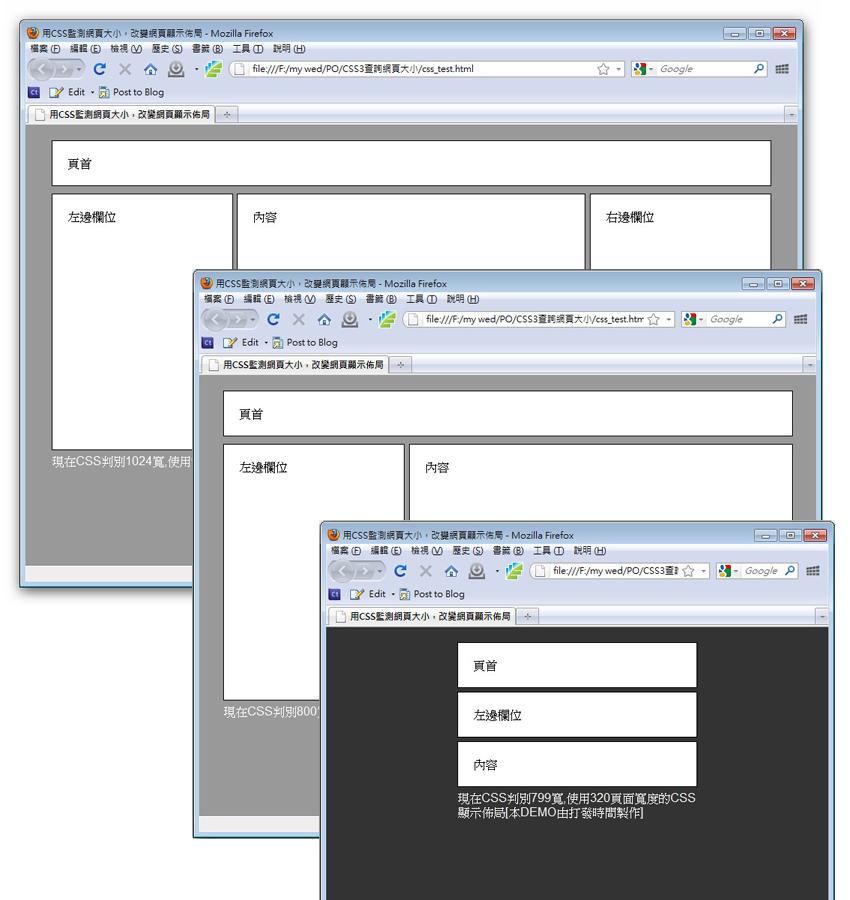 CSS3顯示頁面大小不同,佈局也不同圖